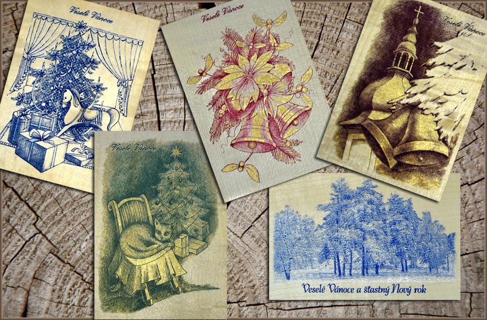Vánoční pohlednice na dýze - tisk