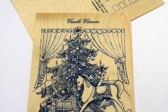 Modrý koník u stromečku se stříbrnou konturou